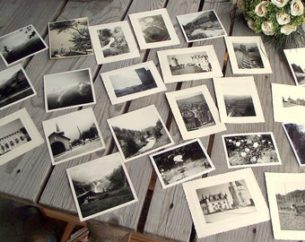 Vintage Photographs of France - Set of 23 - Nature and Monuments - Pictures of France - Black & White Pics - Art Craft Supplies