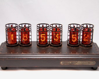 IN-14 Nixie Tube Clock in beech case with protection (dark edition)