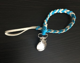 Blue and White Pacifier Clip
