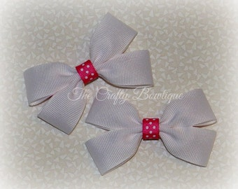 Hot Pink & White Bow ~ White Hair Bow ~ Pink Polka Dot Bow ~ Small White Bow ~ White Clippies ~ White Pigtails ~ Pink Hair Bow ~ Polka Dot