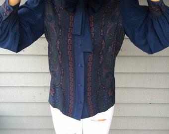 VTG 80s Silk Paisley Tie-Neck Blouse