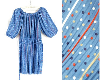 Blue Polka Dot Mini dress / Sky blue dress / Summer dress / Tunic dress / Vintage dress / Candy dress / 80s dress / Dress M Medium