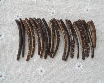 20 Pcs 50-40X12mm Flat Horn Shaped  Stick  Coconut Beads   brown(NW138)