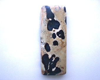 Chinese Painting Jasper Rectangle Pendant Bead