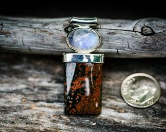 Orbicular Jasper and Rainbow Moonstone Pendant - Ocean Jasper Necklace - Ocean Jasper Moonstone Pendant - Ocean Jasper Jewelry