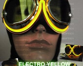 Light Up Goggle - Yellow Burn DJ Electro Man Lit Up Goggle Dancer Rave Eye Wear for Gigs Parties Festivals Cyborg Cyber Dance Costume