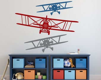 3 AIRPLANES Wall Decal Removable vinyl 3 COLORS Biplane Graphics Children Boys Bedroom Nursery Decor Gift Many Sizes