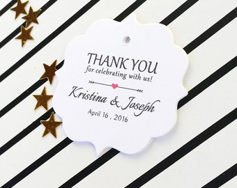 Thank You Wedding Tags for Favors, Personalized Wedding Tags, Custom Printed Tags, Bridal Shower Gift Tags, Tags for Favors