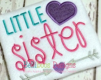 Little Sister Applique Design - Little Sister Embroidery Design - Sibling Applique Design - Sibling Embroidery Design - Applique Design