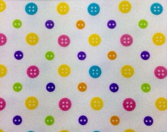 One Half Yard of Fabric Material - Ric Rac Paddywack - Buttons FLANNEL