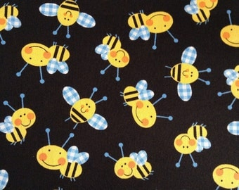 1/2 yard of Fabric Material - Gingham Bumble Bee Twill