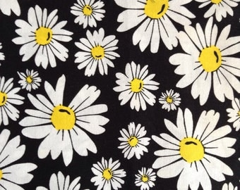 One, One Yard and Six Inches of Fabric - White Daisy on Black