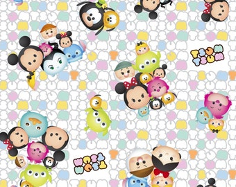 Disney - Tsum Tsum Group Toss Patterned Logo - Cotton Woven - Springs Creative