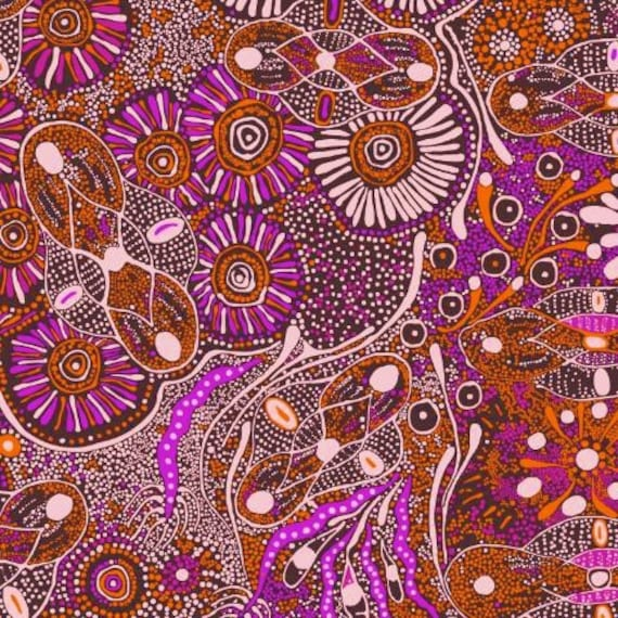 Bush tucker purple australian aboriginal fabric quilt shop for Star fabric australia