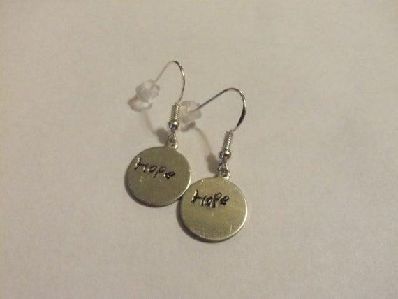 Hope earrings, silver earrings, gift for her, women jewelry, girls earrings, hand stamped earrings, children earrings, inspirational jewelry