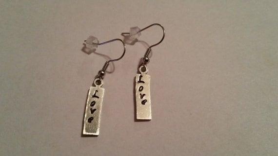 Love bar earring, silver earring, gift for her, women jewelry, girls earrings, hand stamped earring, children earring, inspirational jewelry