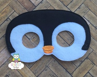 Penguin Mask, Kids Dress Up Mask, Penguin Costume Mask, Wool Blend Mask, Felt Penguin Mask, Jungle Party Favor, Monkey Mask