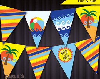 Fun in the Sun, Beach Ball, Palm Tree and Waves DIY Pennant-Style Striped Banner Instant Download Printable PDF File | Includes All Alphabet