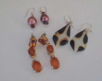 Sale Lot of Three Earrings,Dichroic Fused Glass Earrings,Amber Earrings,Plum Colored Dangle Earrings