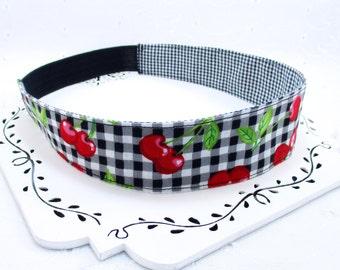 Womans Black Red Headband, Adult Rockabilly Headband, Retro Reversible Headband, Womans Red Headband, 2 Inch Headband, Gift Under 10