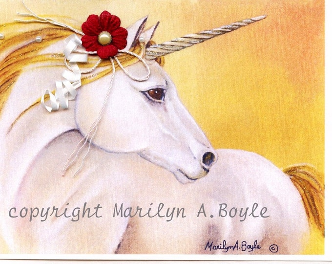HAND MADE CARD; enhanced unicorn card, original art, golden maned unicorn, burgundy 3-D flower,embellishments, Valentine's day