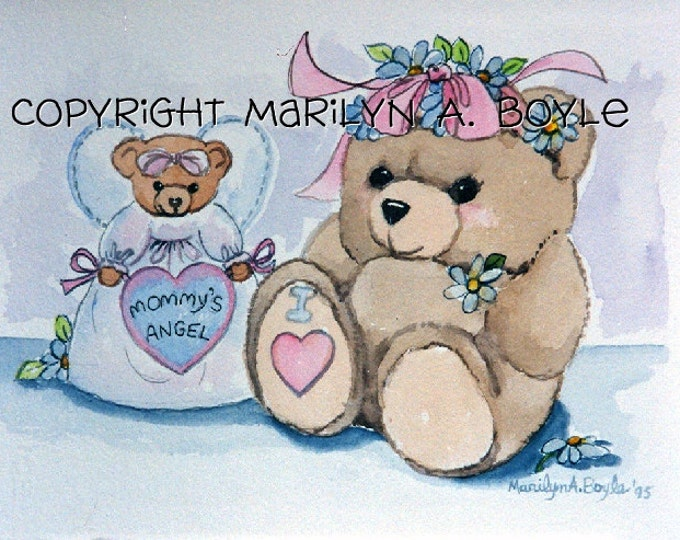 BABY'S ROOM - CUSTOM Orders; matted 11 x 14 inch watercolors, teddy bears, lambs, flowers, books, original art, baby's name, birth date