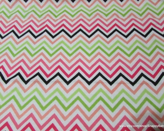 Flannel Fabric - Chartreuse Pink Chevron - By the yard - 100% Cotton Flannel