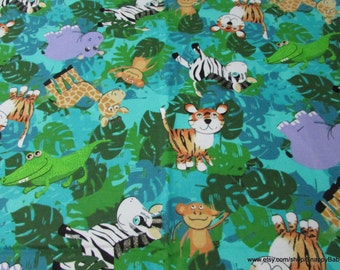 Flannel Fabric - Jungle Friends - 1 yard - 100% Cotton Flannel