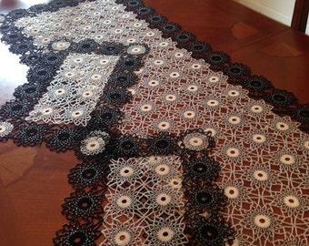 Crochet beaded doily,runner,tablel topper
