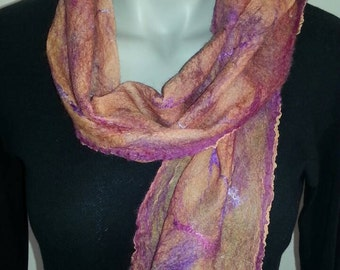 Silk and Wool Nuno Felt Handmade Scarf
