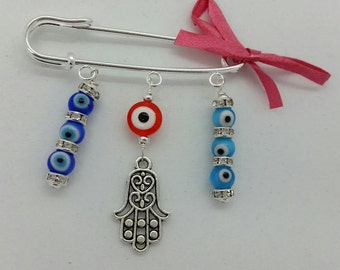 Stroller pin, Evil eye pin, evil eye baby, hamsa pin, evil eye safety pin, evil eye brooch, baby pin, baby shower gift, unique gift