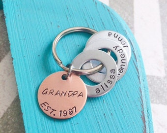 "Grandpa Keychain - Hand Stamped Keychain - Grandpa - Pops - Custom Keychain - ""Best Dad"" - ""Best Mom"" can be stamped in a more feminine font"