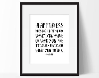 Printable Buddah Quote, Black and White Inspirational Typography Print, Instant Download