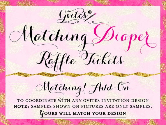 Diaper Raffle tickets Add-on - To coordinate any Gvites invite design ...