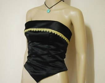 80s Vintage Black Gold Bustier Top Gold Lace Trim Satin Cropped Bridesmaid Prom Vtg 1980s Size XXS-XS