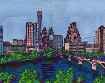 """Austin Skyline: 11"""" X 14"""" Original ink painting with mat & frame          IW001"""