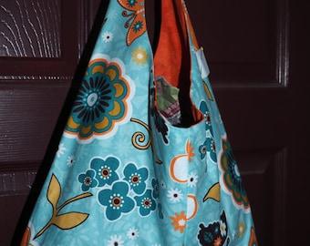 Teal and orange floral fabric handbag, handmade,fabric purse
