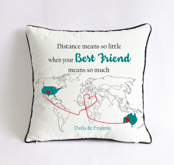 long distance best friend pillow cover gift for best. Black Bedroom Furniture Sets. Home Design Ideas