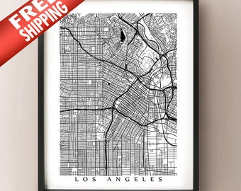 Los Angeles Map Art - L.A., California Poster Print - Black and White