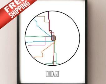 Chicago, Illinois - Minimalist Metro Subway Art Print - Chicago L