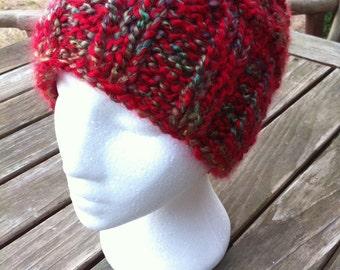 Multi-colored Red Variegated Hat, Crochet Hat, Crochet Beanie Hat, Women's Hat, Teen Hat, Winter Hat, Beanie