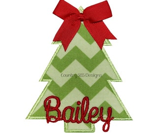 Christmas Tree Bow Embroidery Design 4x4 -INSTANT DOWNLOAD-