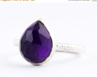 ON SALE Pear Shape Amethyst Ring - Teardrop Amethyst Ring - Stacking Ring - Handmade in Silver 925 - Pleiades Romance - Size 3 4 5 6 7 8 9 1