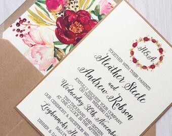 Rustic wedding invitation - burgundy flower wedding invitation