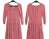 Vintage 60s/70s Long Sleeve Dusty Rose Pleated Dress