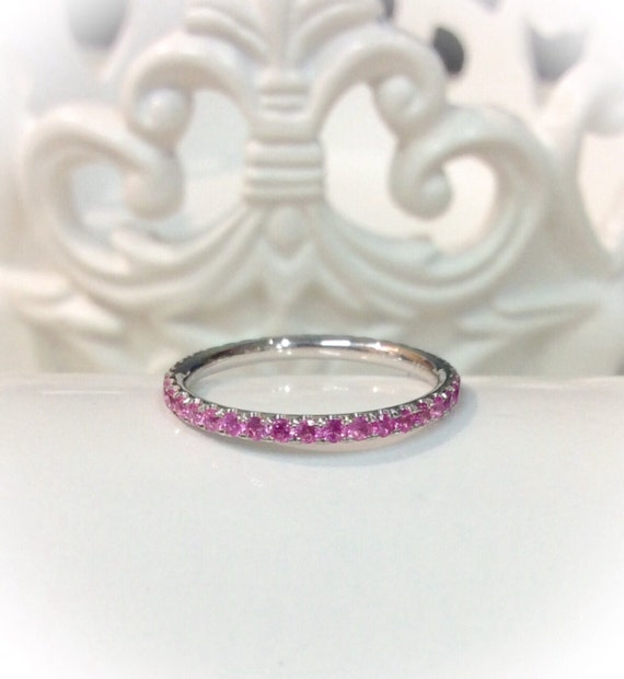 14k white gold pink sapphire eternity ring 1 6mm blushing