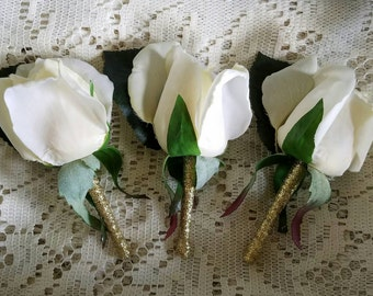 Ivory boutonniere, ivory boutonniere, ivory rose boutonniere, ivory rose boutonniere, closed rose boutonniere, wedding bout