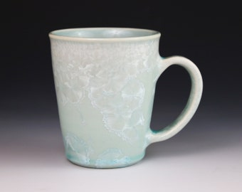 Crystalline 9.5 oz Mug Icy White Mint with Aegean Celadon Blue Cup #8493