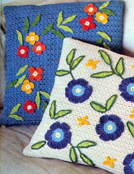 Crochet pattern 3 pillows crochet cushion home decor - Crochet mural vintage ...