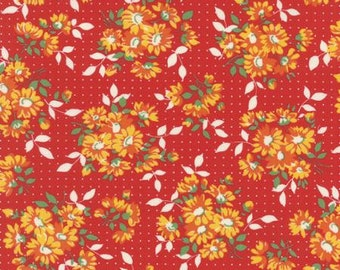 Bread n Butter Dotted Daisy Red - 1/2yd